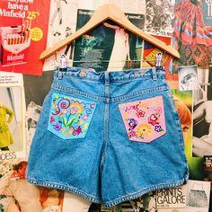 Hustle & the Vixen x High Waist Embroidered Floral Denim Shorts