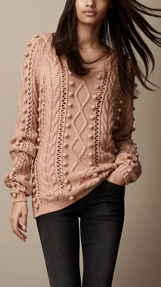 Burberry Brit Cable Knit Wool Blend Sweater
