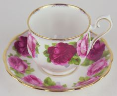 5 x Teacups Saucers Royal Albert Old English Rose Bone China England Hampton | eBay