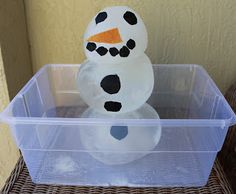 Snowman experiment!  Freeze water in balloons and assemble snowman.  Watch what happens to the snowman and document.  Fun!