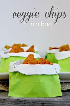 Veggie Chips single serving party idea.