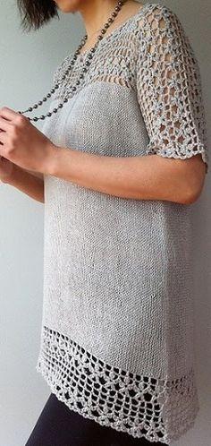 Туника спицами простой вязкой и красивая кокетка и обвязка низа крючком. Схема - МирТесен