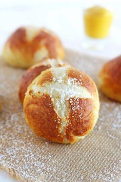 Pretzel Rolls - Golden brown, soft on the inside, crunchy on the outside.
