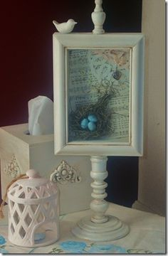 Instructions for Dollar Tree shadowbox, thrift store candlestick, glued together and painted
