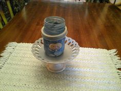 For Sale: Decorative  Mason Jar and Dish - Mason jar and Dish in blue,for the bathroom, bedroom or kitchen.