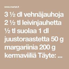 3 ½ dl vehnäjauhoja 2 ½ tl leivinjauhetta ½ tl suolaa 1 dl juustoraastetta 50 g margariinia 200 g kermaviiliä Täyte: 1 kananmuna 1,5 dl juustoraastetta 75 g…