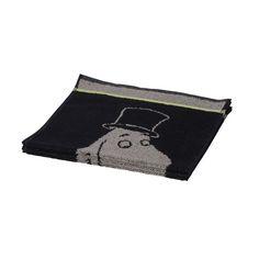 Tyylikäs käsipyyhe mustassa ja harmaassa värissä. Muumipappa pyyhe on taattua Finlayson- laatua.Koko 30 x 50 cm
