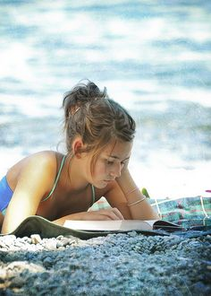 reading a the beach