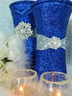 wedding decorations silver wedding centerpieces by kpgdesigns Elegant Wedding, Fall Wedding, Our Wedding, Dream Wedding, Gatsby Wedding, Navy Blue Wedding Theme, Wedding Themes, Wedding Ideas, Silver Wedding Centerpieces