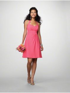 A-line Halter Knee Length Chiffon Wedding Party / Bridesmaid Dresses