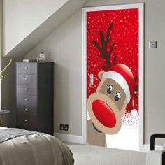 Christmas Deer Pattern Door Art Stickers - RED 38.5*200CM*2PCS