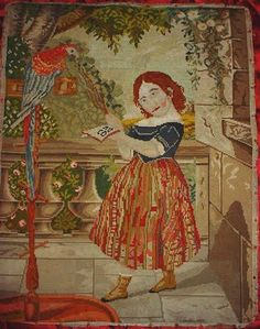 Morgaine Le Fay antique Textiles and More: Victorian Woolwork Embroidery