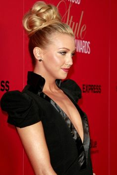 Katie Cassidys high updo hairstyle - Click image to find more Hair & Beauty Pinterest pins