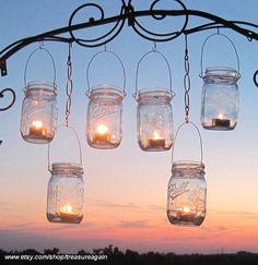 DIY Wedding Mason Jars Lanterns Hangers 6 DIY Outdoor Party Hanging Candle Kits, Luminaries by TreasureAgain, Handmade Hangers Only good idea for backyard parties