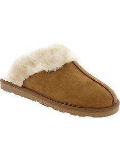 Womens Sherpa-Style Slip-Ons