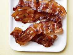 Maple-Pepper Bacon : Brushing bacon with maple syrup and baking it in the oven is a simple trick that yields a huge flavor upgrade. via Food Network Bacon Breakfast, Breakfast Recipes, Bacon Recipes, Food Network Recipes, Brunch, Stuffed Peppers, Pork, Recipes For Breakfast, Pork Roulade