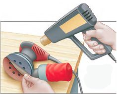 Random Orbital Sander How to Use Heat Gun to Prepare Adhesive Sanding Disks for Orbit Sanders - If you are having trouble removing the paper from the adhesive disks for your random orbit sander, a heat gun might you peel them off. Rockler Woodworking, Woodworking Supplies, Best Random Orbital Sander, Heat Gun, Knobs And Pulls, Types Of Wood, Tricks, Adhesive, Workshop