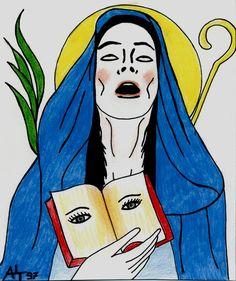 ALT97 -SANTA ODILIA DI HOHENBURG- pastelli e pennarelli acrilici su carta  contact us: parione9@gmail.com