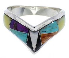 Turquoise Multicolor Inlay Jewelry Sterling Silver Southwest Ring Size 8-1/2 EX22250 http://www.silvertribe.com