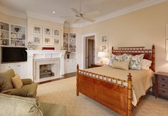Hand carved fireplace warms bedroom - traditional - Bedroom - Charleston - Christopher A Rose AIA, ASID bed and carpet Warm Bedroom, Small Room Bedroom, Bedroom Colors, Home Bedroom, Bedroom Decor, Bedroom Ideas, Master Bedroom, Built In Cabinets, Traditional Bedroom