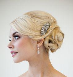 Bridal Haircomb, Wedding Head Piece, Rhinestone Leaf Haircomb. $49.00, via Etsy.