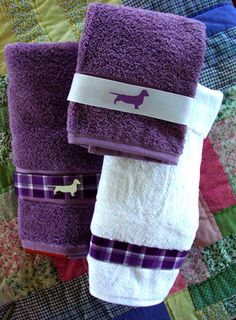 Dachshund Doxie Dog Bath Towel - Purple and White - Shower Curtain and Window Valances available, too