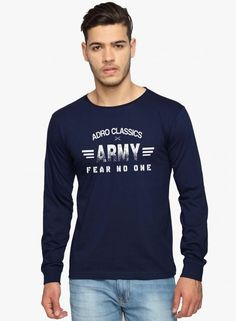 Stack up your style against the rest wearing this navy blue casual T-Shirt from Adro. What's so different about it? Out-of-the-ordinary cotton used in making this breathtaking piece adds a unique texture to this casual jacket. This season-round staple can work with everything in your wardrobe. Army Print, Casual T Shirts, The Ordinary, Full Sleeves, Your Style, Shirt Designs, Graphic Sweatshirt, Originals, Sweatshirts