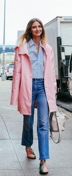 Brie Welch in a Stutterheim coat