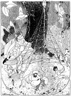Intricate FAIRIES Dancing Around Web Maypole!  Vintage Fairy Illustration. Fairy DIGITAL Download. Vintage Fairy Digital PRINT