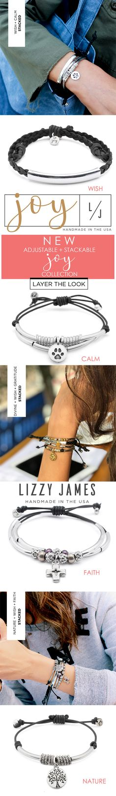 NEW for 2018! Featuring stylish, stackable and adjustable leather bracelets from Lizzy James Jewelry, handcrafted in the USA
