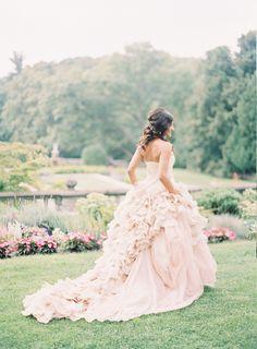 A Vera Wang masterpiece | Photography: Blaine Siesser Photography - www.blainesiesser.com/ Read More: http://www.stylemepretty.com/2015/01/02/elegant-cranbrook-gardens-art-museum-wedding/
