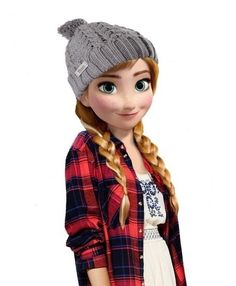 Anna in a lumberjack shirt. Very Canadian type of fashion style.
