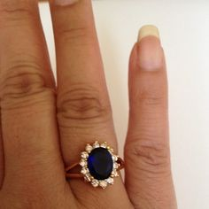 Ring Blue & white Crystal with 24k gold plated ring jewelry.(NEW) No Trades. No Holds. No PayPal. Jewelry Rings