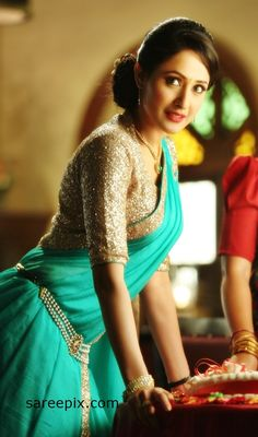 "Pragya jaiswal sarees in telugu movie ""Kanche"". The beautiiful actress looks gorgeous in half sarees."