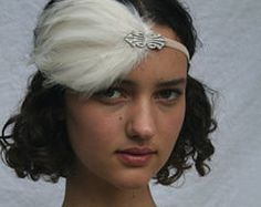 IVORY Feather Headband, Silver 1920s Headpiece, bridal headpiece, great gatsby art deco swarovski bridal wedding stretch elastic flapper