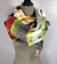Evan | Handwoven Red and Green Scarf | Woven Women's Neckwear | Pantone Gifts | Cherry, Avocado & Stormy Gray Striped Heirloom Textile