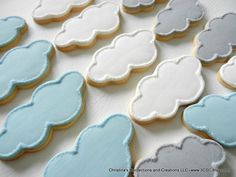 Clouds + airplanes up up and away Cute cookies for a shower. Choose up to three colors. Includes an equal amount of small, medium and large cloud sugar cookies. Baby Cookies, Baby Shower Cookies, Cute Cookies, Sugar Cookies, Caramel Shortbread, Bakery Box, Meringue Powder, Cheese Cookies, Chocolate Icing