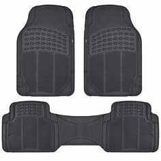 MotorTrend 100% Odorless Clean Rubber Car Floor Mat Set Max Weather Protection