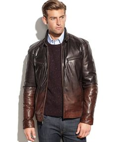 An eye-catching ombre effect adds contemporary style to this rough-and-tough leather moto from Boston Harbour.