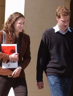 Kate Middleton and Prince William were photographed walking outside St. Andrews University (April 2003).