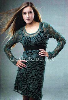 Зеленое платье крючком - Вязание Крючком. Блог Настика. Схемы, узоры, уроки бесплатно