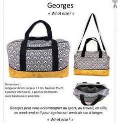 Georges - Le Sac Indispensable - Tutoriel et Patron Couture Georges - The Essential Bag - Tutorial u Sac Week End, Best Street Style, Diy Sac, Blog Couture, Baby George, Couture Sewing, Laptop Bag, Sewing Patterns, Stitching Patterns