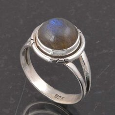 BLUE FIRE LABRADORITE 925 SOLID STERLING SILVER FASHION RING 3.80g DJR6381 #Handmade #Ring