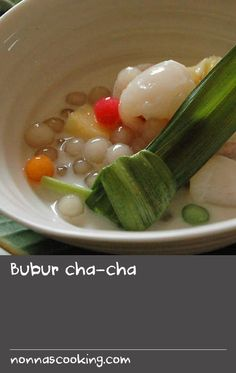 Bubur cha-cha | Many countries in Southeast Asia have a variation of this colourful and textural dessert and this recipe includes sago, sweet potato and taro. Taro are brown-skinned tubers covered in rough ridges – their flesh comes in various colours but is often white flecked with purple. You can find them at Asian grocery stores.