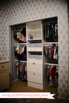 Nursery closet organization using Ikea STUVA storage system & patterned walls