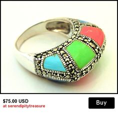 Ring Sterling silver marcasites with blue green turquoise,coral and sodalite gesmstone size 8
