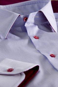 Red buttons look cool with this light blue pin stripe cotton #shirt