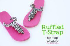 DIY Tutorial Flip Flops / DIY Flip-Flop Refashion: Ruffled T-Strap – Bead&Cord - ilikes. Old Navy Flip Flops, Cute Flip Flops, Cute Crafts, Crafts To Do, Diy Crafts, Fabric Crafts, T Strap Sandals, Flip Flop Sandals, Diy Vetement