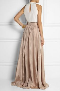 jenny packham - pleated silk taffeta maxi skirt
