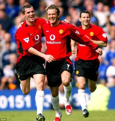 David Beckham celebrates scoring his final goal for Manchester United against Everton in May 2003. Weeks later he was sold to Real Madrid